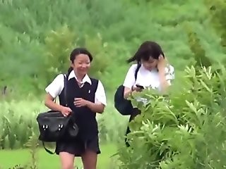 Urinating teen asians