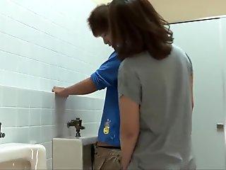 Riho Mikami sucks a stiff dick in a public toilet  - More at 69avs.com