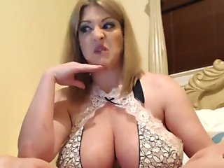 Blonde with giant tits