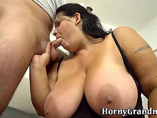 Fat granny tugs for cum