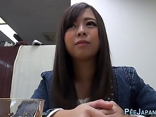 Japanese babe drinks piss