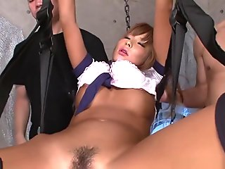 Bunch Of Kinky Dudes Toys Restrained Hottie's Hairy Cunt