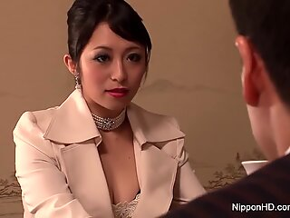 classy black-haired gets her hairy pussy filled with jizz