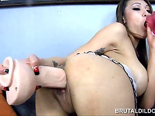 Petite Asian Jayden Lee feeding her pussy a thick dildo